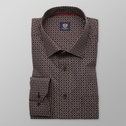 Men's Classic Cut Shirt London (height 188-194) 8741 in brown color and beige pattern