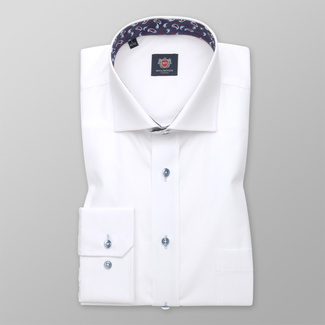 Men's Classic Cut Shirt London (height 176-182 I 188-194) 8758 in white color, Paisley Pattern and  Two-play treatment