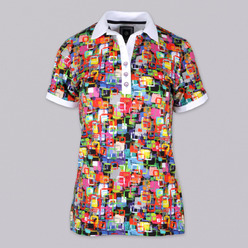 Women's Polo t-shirt 9461 with pattern colorful squares, Willsoor