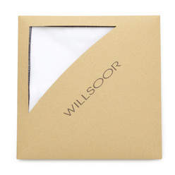White pocket square with dark blue hem 9549, Willsoor