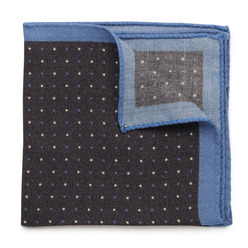 Wool pocket square with dots and border 9632