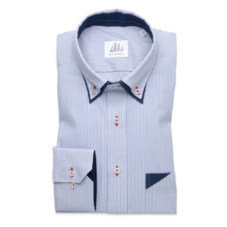 Slim fit shirt with striped pattern (height 198-204) 9769, Willsoor