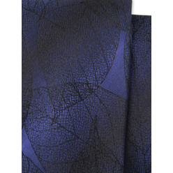 Men's silk tie with black leaf pattern 9778, Willsoor