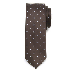 Brown narrow tie with dots 9815, Willsoor