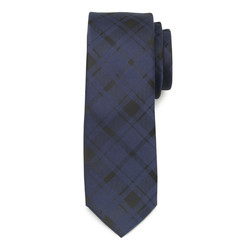 Narrow dark blue tie with grid patern 9818, Willsoor