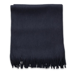 Men's scarf in dark blue with fringes 9971, Willsoor